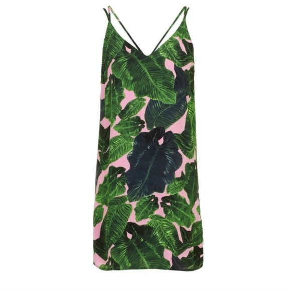 e7d2e54620d2 Topshop Palm Print Cross Back Slip dress. M_5ad60c6fb7f72bfc38908db8